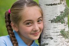 Free The Girl At A Birch Royalty Free Stock Photography - 15559437