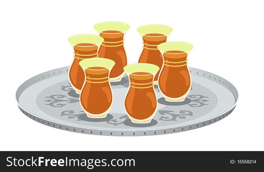 Tea Glasses And Arabian Decorated Tray 2