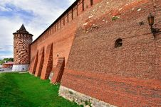 Kremlin In Kolomna, Red Fortress, Brickwork Of An Ancient Fortification Stock Images