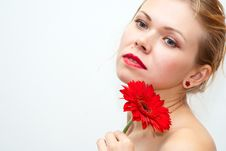 Free Sensual Beautiful Girl With Red Flower Stock Images - 15560484