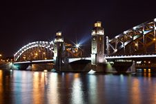 Free Steel Bridge At Night Royalty Free Stock Photography - 15562487