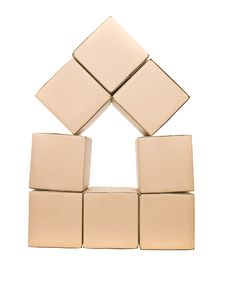 Free Cardboard Boxes Formed As A House Stock Photos - 15562813