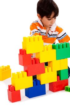 Boy Playing With Building Blocks Royalty Free Stock Photos
