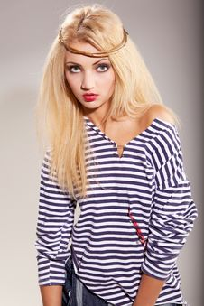 Free Woman And Striped Top Stock Photos - 15563193