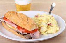 Ham And Roast Beef Sandwich Stock Photography