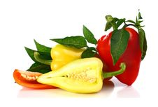 Red And Yellow Cut Pepper And Green Leaf Stock Image