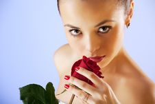 Free Portrait Of Sensual Beautiful Woman With Rose Royalty Free Stock Image - 15564336