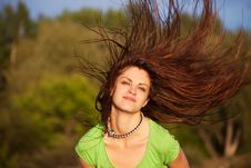 Free Young Woman With Hair Flying Royalty Free Stock Photography - 15564937