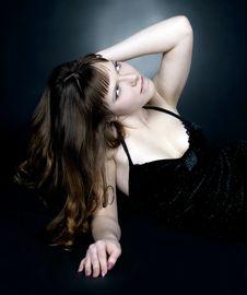 Brunette Girl Posing In Studio Royalty Free Stock Photo