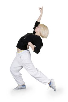 Free Teenager Dancing Hip-hop Over White Background Royalty Free Stock Photography - 15565207