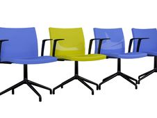 Free Blue And Yellow Office Armchairs Isolated Stock Photography - 15565512