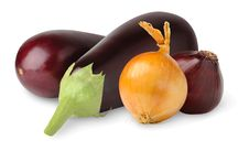 Free Eggplants And Onions Royalty Free Stock Images - 15566019