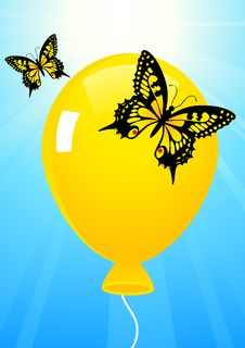 Butterflies And Balloon Stock Images