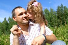 Free The Girl Kisses The Father Stock Images - 15567324