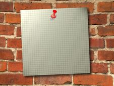 Old Card Pinned To The Wall Royalty Free Stock Photo