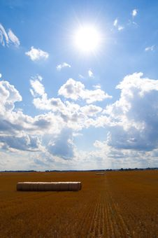 Hay Balls Under The Sky Royalty Free Stock Images