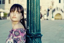 Protrait Of Beautifful Young Woman In Venice Stock Images