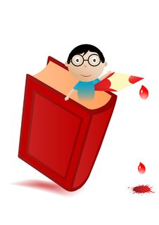 Vector Illustration The Red Book And Boy Stock Images