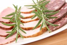 Plate Of Assorted Cold Cuts Royalty Free Stock Photos