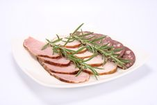 Plate Of Assorted Cold Cuts Stock Photography