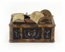 Free Treasure Chest With Coins Royalty Free Stock Photography - 15571877