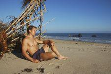 Beach Vagabond Castaway Royalty Free Stock Photography