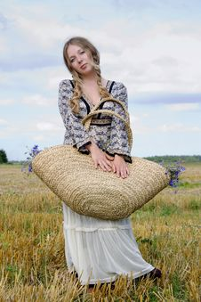 Free Woman With A Basket Stock Images - 15573314