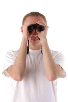 Man Looks Through Binoculars Royalty Free Stock Images