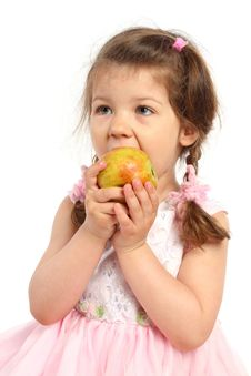 Free Little Girl Eating Apple Royalty Free Stock Photo - 15573915