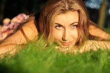 Free Girl On The Grass At City Park Stock Photos - 15574343