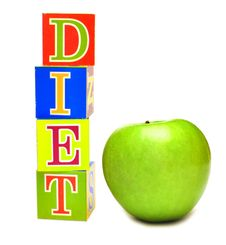 Green Apple And Cubes With Letters - Diet Stock Photos