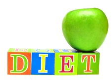 Green Apple And Cubes With Letters - Diet Royalty Free Stock Photography