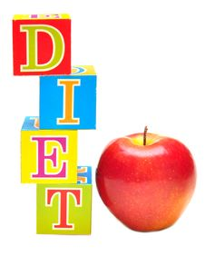 Red Apple And Cubes With Letters - Diet Royalty Free Stock Image