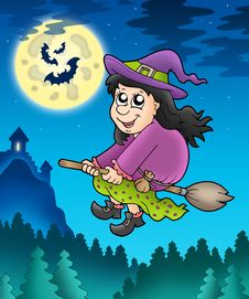 Free Cute Witch On Broom Near Castle Royalty Free Stock Image - 15574716