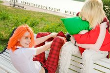 Free Two Teenage Girls At Park Royalty Free Stock Photo - 15575965