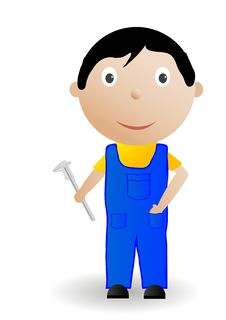 Free Vector Illustration The Boy With The Tool Stock Image - 15576401