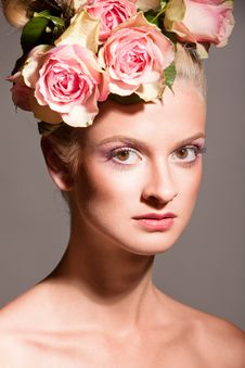 Beautiful Blonde With A Wreath Of Flowers Royalty Free Stock Photography