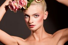 Free Beautiful Blonde With A Wreath Of Flowers Stock Photo - 15578760