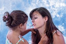 Free Daughter Fixing Mother Hair Royalty Free Stock Photos - 15579268