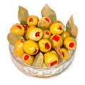 Free Green Olive Fruits Stuffed With Red Pepper Royalty Free Stock Photo - 15580325