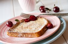 Toasted Bread With Cherries Stock Photos