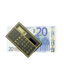 Free Calculator And 20 Euro Bill Royalty Free Stock Photography - 15581517