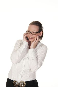 Smiling Girl On The Phone Royalty Free Stock Images