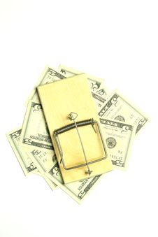 Free Mousetrap And Dollar Bills Stock Photo - 15581600