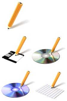 Free Pencil 3D Icon Collection Stock Images - 15581674