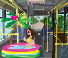 Free Girl In The Bus Royalty Free Stock Photos - 15582338