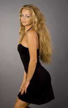 Free Blonde Girl In A Black Dress Royalty Free Stock Photos - 15583478