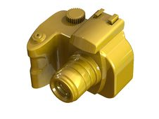 3d Render Of DSLR Gold Camera Royalty Free Stock Photos