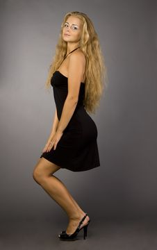 Free Blonde Girl In A Black Dress Royalty Free Stock Images - 15583499