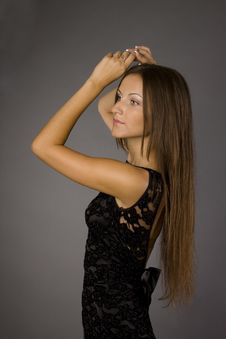 Free Girl In Black Dress Royalty Free Stock Photos - 15583808